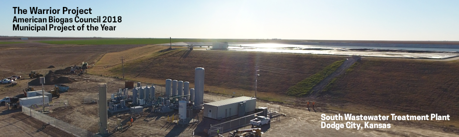Aerial view of gas processing equipment at Dodge City Wastewater Treatment Plant