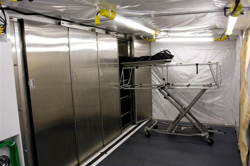 Remains Storage Area - The MIRCS can hold up to 16 remains under the tight US mortuary standards for both temperature control and air exchange, while the outside conditions can vary from -20°F to 120°F.